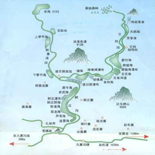 九寨沟景区导游图
